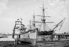 Common Hard (ShrubMonkey (Julian Heritage)) Tags: hmswarrior coast coastal nautical fishingboat ship boat dockyard portsmouth hampshire commonhard harbour hard slipway seaside mono bw portsea