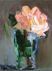 Light Pink Rose in a Glass (http://annafineart.net/) Tags: oilpainting expressionism contemporary modernart gallery original floral flowers artwork still life flower artstudio media bouquet pink oilmedia impressionist art arts painter dailypainter artist oil painting paintings fineart finearts textura impasto white expressionist artforsale professional thick paint paints annafineart annafineartstudio bunch rose abstract abstractpainting abstracto roses impressionism pintura