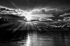 New Day (martinus.structor) Tags: vierwaldstaettersee lakeoflucerne switzerland schweiz schwarzweiss sun sonnenaufgang blackandwhite bnw bw berge mountains monochrome clouds sky himmel water wasser wolken groupenuagesetciel