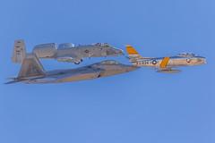 A-10, F-86 and F-22 (gilamonster8) Tags: f22 a10 150600mm1563dgc sigma fighterplane airshow northamericanf86sabre blue usaf flight stelth 2019thunderandlightningoverarizona arizona 7dmarkii planes kdma dmafb wing wingman fly formationflying flickr fighter warthog warbirds f86 tucson aircraft sky jet fairchildrepublica10thunderboltii lockheedmartinf22raptor canon jollyroger raptor sabre airforce