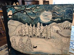 The Owl,The Cat, and The Hare or Who Likes The Night?   🐈🐇 (Cabinet of Old Secret Loves) Tags: painting acrylic paint scenery landscape naive anna belanger annabelle ghostales1957 etsy artist art story storteller book animals cat hare rabbit owl snowy winter snow cold fullmoon moon mystery magical moment life black witch fairy door 13 number instagram instagood insta artful creative sky night serene quiet silent silence far lonely mindfulness mindful mind happy content whimsical fairytale surreal magic fairydoor jonkabatzinn