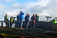 Twitchers (Geoff Henson) Tags: twitcher birdwatcher people camera telescope binoculars viewpoint rock wall fence cloud sky symondsyat gloucestershire forestofdean