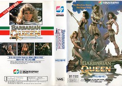 """Seoul Korea vintage VHS cover art for sword-n-skin cult fave """"Barbarian Queen"""" (1985?) - """"The Sword is Mightier Than...?"""" (moreska) Tags: seoul korea vintage vhs cover art retro swordandsorcery 1985 barbarianqueen cult grindhouse ta skin seminude warrior weapon beauty starbox hangul graphics fonts english drivein 1980s rentalera genrefilms videocassette archive museum rok asia"""