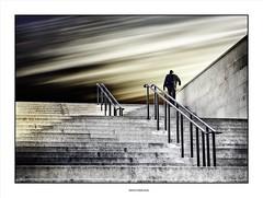 Man On The Corner... (michel di Méglio) Tags: man colors stairway escalier olympus zuiko marseille couleur sky ciel