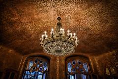 A Gaudí Chandelier (henriksundholm.com) Tags: interior architecture building room chandelier lamp ceiling crystal lights glass mosaic casabattlo antonigaudi barcelona spain espana hdr catalunya