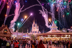 Magic Kingdom (rebeccahspear) Tags: castle rides outdoor wdw evening travel perspective fireworks smoke buildings night nikkor nikon kingdom disney magic magickingdom america lights sky hour d600 us usa architecture 2017 2460mm