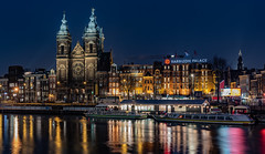 Barbizone Palace... (Aleem Yousaf) Tags: amsterdam north holland d810 nikkor nikon photography travel blue hour barbizone palace europe damrak reflections lights shadows boats tourists vibrance long exposure world city canal water landmark flickr camera digital dam square centraal boat building architecture sky night river tower