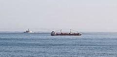 low ressolution marina (daniel virella) Tags: barra tejo atlântico atlantic ocean lisboa lisbom portugal lighthouse ship cargo sea sky blue picmonkey