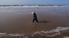 With 3 - the sea is huge (Steenjep) Tags: søndervig hav vesterhavet sea coast sand water vand bølge wave fun leg play sjov