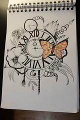 horloge popillion (pepette.flaux) Tags: horloge draw dessin couleur papillion motif mandala