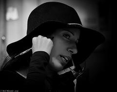 Hat, phone, clip-board. (Neil. Moralee) Tags: canadaneilmoraleenikond7100 neilmoralee woman girl lady canada toronto face working portrait candid street black white bw bandw blackandwhite mono monochrome hat phone clip board clipboard survey questions questionair pen work dark answers answer neil moralee nilkon d7100