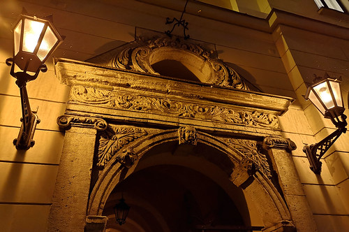 Medieval portal on Zirgu Street in Old Town of Riga, Latvia. January 15, 2019