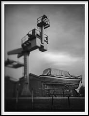 murano boatyard (Andrew C Wallace) Tags: boat shipyard murano venice venezia italy italia blackandwhite bw infrared ir microfourthirds m43 olympusomdem5mk2 thephotontrap tiltshift crane