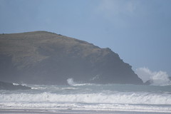 The Headland's Wave hit. (Working hard for high quality.) Tags: headland newquay cornwall water fistral grass sky weather blue waves ripples effects