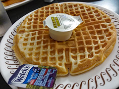 Waffle And Welch's Jelly. (dccradio) Tags: myrtlebeach sc southcarolina horrycounty food eat meal breakfast lunch dinner supper latenightsnack wafflehouse plate restaurant february winter tuesday tuesdaynight night evening goodnight goodevening tuesdayevening butter jelly mixedfruit waffle circle round samsung galaxy smj727v j7v cellphone cellphonepicture inside indoor indoors