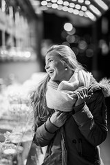 Silvanas smile (..Jan) Tags: lady woman sexy girl blonde hair outdoor bnw schwarz weiss street canon 6d