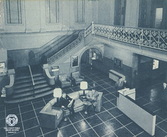 McLure Hotel Brochure, 1950s: Lobby (Ohio County Public Library) Tags: wheeling wheelingwv mclurehotel mclure stairwell lobby ironscrollwork interior hotel hotels