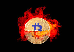 Bitcoin on fire (wuestenigel) Tags: half market crypto cut background bitcoin finance coin bear money mining broken digital crash bullmarket bussiness electronic isolated fire cryptocurrency btc symbol desktop illustration design shape gestalten abstract abstrakt luminescence lumineszenz art kunst number nummer light licht vintage jahrgang image bild noperson keineperson sign zeichen graphic grafik halving halvening
