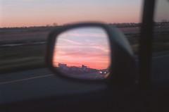 (hamacle) Tags: arkansas film nikon n80 f80 kodak portra 800 analog sunset sunrise window car mirror reflection color sun landscape highway road roadtrip travel sky clouds pink south west night dusk dawn evening grain