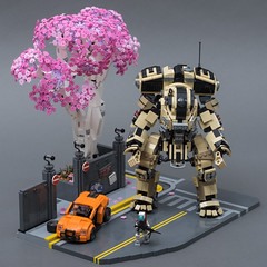 "Scorch on Angel City (from ""Titanfall 2"") (SteppedOnABrick) Tags: titanfall titan lego moc afol scorch angel city 2 pilot cherry blossom tree games ea"
