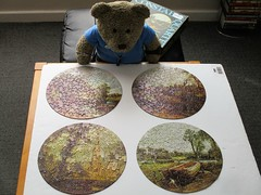 Who sez there's never a constable about when yew need one? (pefkosmad) Tags: jigsaw puzzle hobby leisure pastime vintage constablequartet webbivory used complete secondhand round circular art fineart painting johnconstable tedricstudmuffin teddy ted bear animal toy cute cuddly plush fluffy soft stuffed