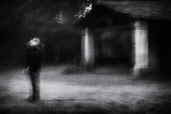 """""""Here I gaze at a pantheon of oak, a citadel of stone"""" (Lucretia My Reflection) Tags: blackandwhite bw forest wood wilderness shadow icm intentionalcameramovement cameramovement movement creepy haunting cabin oldcabin abandoned"""