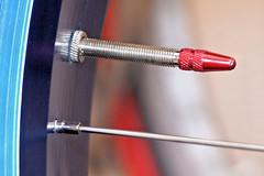 DSC08361P (Scott Glenn) Tags: macromondays hobby cycling fatbike rim stem presta cap red blue spoke bicycle sony alpha closeup macro