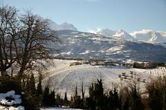 """(salernolorenza) Tags: versante della montagna catenagransassod'italia moments albero neve cielo paesaggio campo abruzzo """"nikonflickraward"""""""