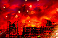 DISCOVERING A MODERN CITY ON MARS. (Viktor Manuel 990.) Tags: city ciudad buildings edificios mars marte reds rojos moons lunas space espacio planet planeta night noche digitalart artedigital querétaro méxico victormanuelgómezg