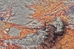Grand Canyon with Snow, variant (sjrankin) Tags: 11march2019 edited nasa iss iss058 iss058e1605 snow ussouthwest grandcanyon arizona coloradoriver winter grandcanyonnationalpark