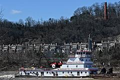 Pushboat on Ohio River (durand clark) Tags: ohioriver pushboat mvmarquettehilltopper barge daytonkentucky cincinnatiohio towboat bargeline edenpark cincinnatiwaterworks nikonz6mirrorless nikon2470f4s marquettetransportation