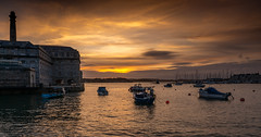 RWY Sunset 2 (trevorhicks) Tags: plymouth england unitedkingdom gb naked nude devon river tamar water sky boats royal william yard sunset chimney clouds marina outdoor building canon 5d mark iv tamron