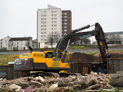 Crumbled. (HivizPhotography) Tags: volvo ec380dl excavator tracked plant hire demolition lawrie digger aberdeen scotland uk building construction brick