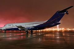 FOG and RAIN....... (GeorgeM757) Tags: n196us usajet kcle georgem757 clevelandhopkins cargo aircraft aviation airplane airport airfreight freighter nightairplane nikon n8914