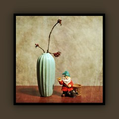 Still Life (N.the.Kudzu) Tags: tabletop stilllife vase resin figurine gnome canoneosm industar104 photoscape frame texture