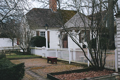 Secluded (danicalees) Tags: williamsburg virginia colonial march 2013 overcast cloudy trees winter exterior building bench yard nature