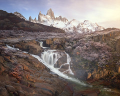 Panorama of Rio De la Cascada and Fitz Roy in the Morning, Los Glaciares National Park, Argentina (ansharphoto) Tags: america andes argentina autumn beautiful blue canyon cascada cascade chalten el fitz fitzroy frost glaciares glacier gorge hiking landmark landscape monte morning mount mountain national nature outdoor panorama park patagonia peak range river rocks roy scenic sky snow south stream sunrise terrain tourism travel tree trek trekking view water waterfall