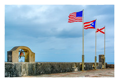 Tres Banderas y Una Campana (Timothy Valentine) Tags: 2017 flag 0417 bell oldsanjuan vacation castillosanfelipedelmorro sliderssunday sanjuan puertorico pr