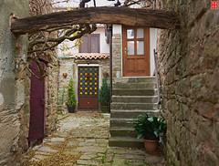 The Red Rose and Four Doors behind the Gate - Grožnjan (Eadbhaird) Tags: grožnjan groznjan grisignana door rose istria croatia hrv