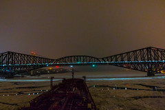 Happy New Year (langdon10) Tags: canada laurentiadesgagnes quebec stlawrenceriver water bridge ice nighttime ship tanker winter