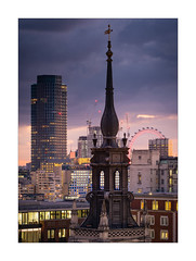 Spires, Towers and Eyes (Dave Fieldhouse Photography) Tags: london londoneye southbank blackfriars southbanktower seacontainers stpaulscathedralschool sunset afterglow evening dusk oxotower city architecture buildings town lights nighttime spire church fuji fujifilm fujixt2 wwwdavefieldhousephotographycom clouds sky offices hotel