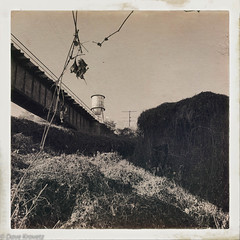 Woolen Mills (davekrovetz) Tags: sky train trestle sepia iphone charlottesville virginia ruins nature bridge hipstamatic