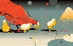 """illustration for """"Moscowskie torgi"""" magazine (depingo.ru@gmail.com) Tags: moscow chicken hen chickens illustration"""