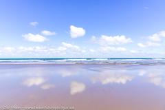 Little fluffy clouds reflected at Watergate Bay, Cornwall (Zoë Power) Tags: watergatebay ukcoast skyreflections mirror beach blueskies reflections sky seascape fluffyclouds cornwall cornishcoast sea