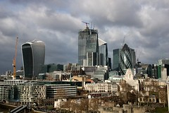 The City From Tower Bridge (crashcalloway) Tags: london cityoflondon londonskyline skyline skyscrapers offices city walkietalkie 22bishopsgate thegherkin thecheesegrater toweroflondon clouds sky