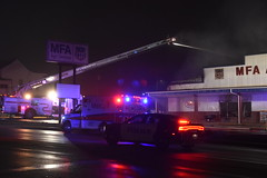 Fire - MFA Agri Services (Adventurer Dustin Holmes) Tags: firefighting fire mfa mfaagriservices lacledecounty lebanonmo lebanon lebanonmissouri missouri emergency event events news photography structure business building night february 2019 downtown smoke smoky smokey lowlight policecar lpd lebanonpolicedepartment lebanonpolicedept emergencyvehicle car dodge dodgecharger lawenforcement police policecruiser lebanonpolice firstresponders responders firedept firedepartment fireengine firetruck emergencyvehicles vehicle vehicles laddertruck outdoor burned burning firefighters firefighter truevalue damage damaged destroyed