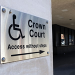 Disabled access at Manchester Crown Court (Crown Square) stock photo thumbnail