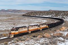 Escalante Loads (shawn_christie1970) Tags: baca newmexico unitedstatesofamerica us coal leeranchsub escalantewesternrailroad eswr601 eswr602 eswr603 railroad snow emd desert sd40