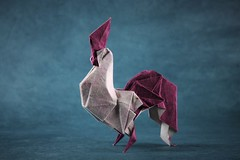 Rooster - Gen Hagiwara (pierreyvesgallard) Tags: origami rooster chicken gen hagiwara paper folding papercraft
