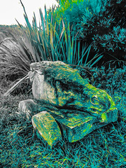 Bring Me It's Head (Steve Taylor (Photography)) Tags: horse trolly head cart digitalart sculpture carving blue green grey stone rock grass flax